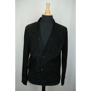 Gucci Black Suede Blouson Cardigan Jacket Sz 50EU